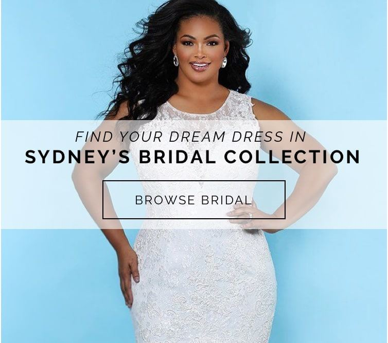Model wearing a Syndey's Bridal wedding dress shown on banner for H and G Formal shown on mobile device